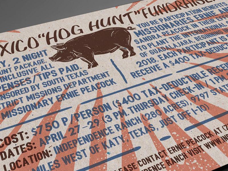 Hog Hunt Fundraiser vintage flyer hog hunt hog