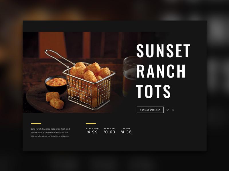 McCain Recipe Page Concept dark minimal web design web recipe
