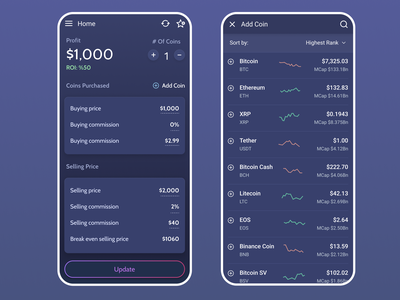 Cryptocurrency Calculator calculator cryptocurrency crypto finance fintech dark mobile ux app ui dark theme