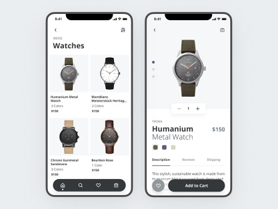 Watch ecommerce app e-shop e-commerce watches minimal iphone ecommerce mobile clean ux app ui