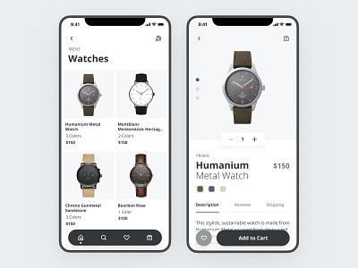 Watch ecommerce app minimal iphone watchos ecommerce mobile clean ux app ui