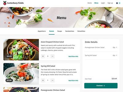 Restaurant Online Menu e-commerce e-shop ecommerce cart clean healthy app checkout food webite ux ui order online online menu restaurant app restaurant