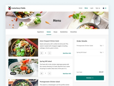 Restaurant Online Menu e-commerce e-shop ecommerce cart clean healthy app checkout food webite ux ui order online online menu restaurant app restaurant