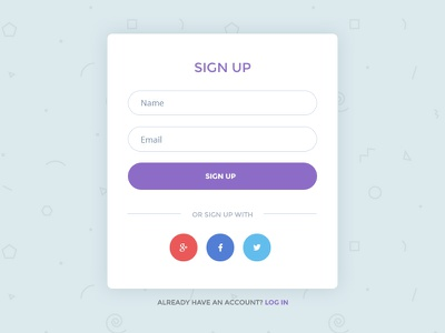 Colorful Simple Sign Up Form social media interaction design ux ui debut miamidribbble fun minimal clean form sign up