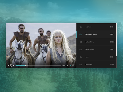 Minimal Dark Theme Video Player clean media player interface app ux ui dark theme dark video media minimal green