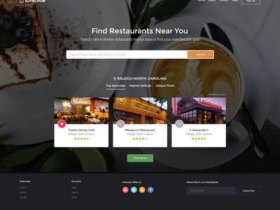 Restaurant Guide Website Mockup user experience ux user interface ui website cuisine dinner dine travel clean restaurant