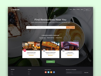 Restaurant Guide Website Mockup user experience ux user interface ui website cuisine dinner dine travel clean restaurant