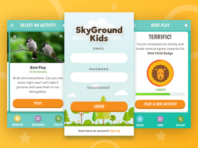 Kids Activity App gamification ui ux kids children activity cards app mobile game