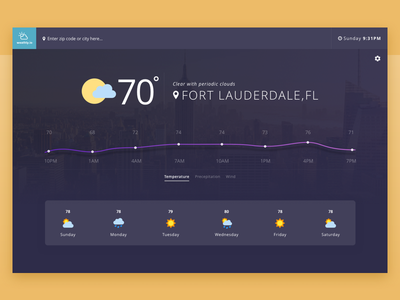 Weathly Weather App UI location web app graph chart blue purple dark theme dark sunny ux ui weather