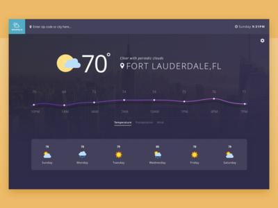 Weathly Weather App UI location web app graph chart blue purple dark theme dark sunny ux ui weather