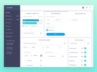 Dashboard for High School Admin responsive clean widget profile enrollment students teacher school education ui dashboard