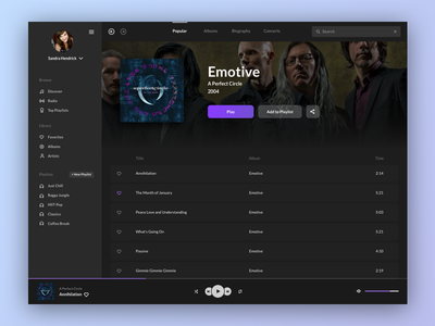 Music Player - Dark Theme Version dashboard purple streaming playlist dark theme entertainment app media music ui