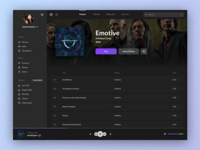 Music Player - Dark Theme Version dashboard purple streaming playlist dark theme entertainment app media music ui