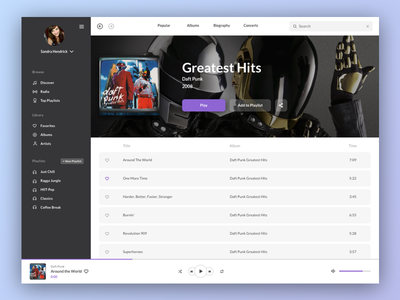 Music Player - Light Theme Version ui streaming purple playlist music media entertainment dashboard clean app