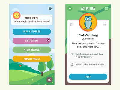 Activity App for Kids adventure nature outdoors clean ux ui play mobile kids game fun colorful children app
