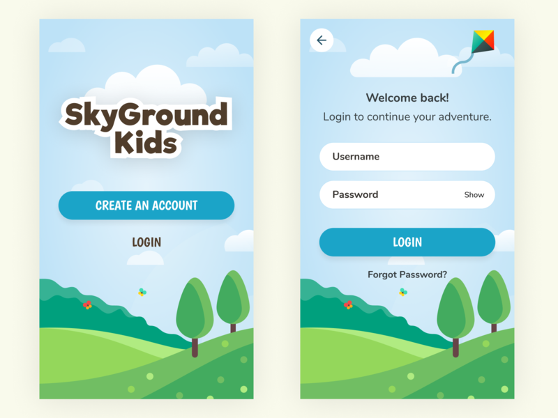 Login  for Kids Activity App fun play app mobile clean colorful sky children kids outdoor adventure signup login ux ui