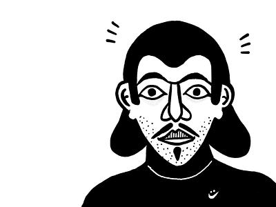 Niko drawing black  white portrait procreate illustration