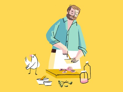 'Lovers like us' - cooking dinner scene yves montand scene cooking french movie tribute illustration character design