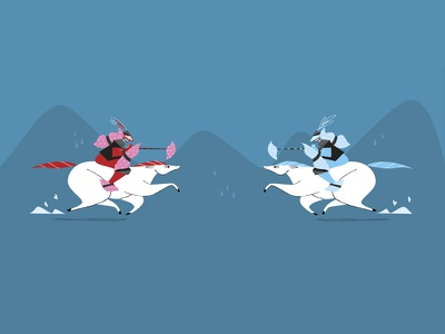 Pillow fight illustration character design shop online ohh deer website banner competition horses knights fight pillow