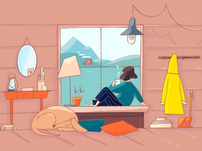 Room with a view slowlife mountains cupoftea personalproject styleframe atmosphere character design illustration wip thelake