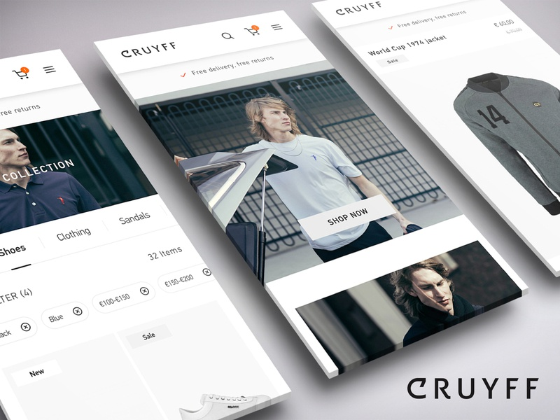 Cruyff Classics | Webshop Redesign commerce cloud retail mobile wireframing ux ui behance project ecommerce redesign cruyff webshop webdesign