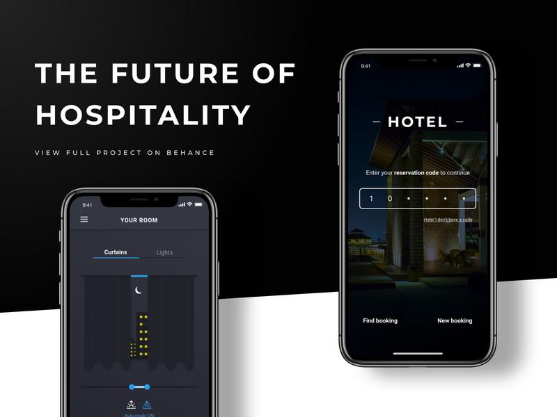 Hotel Remote App | A concept & design branding sketch dark mobile app remote hotel concept ui design behance project