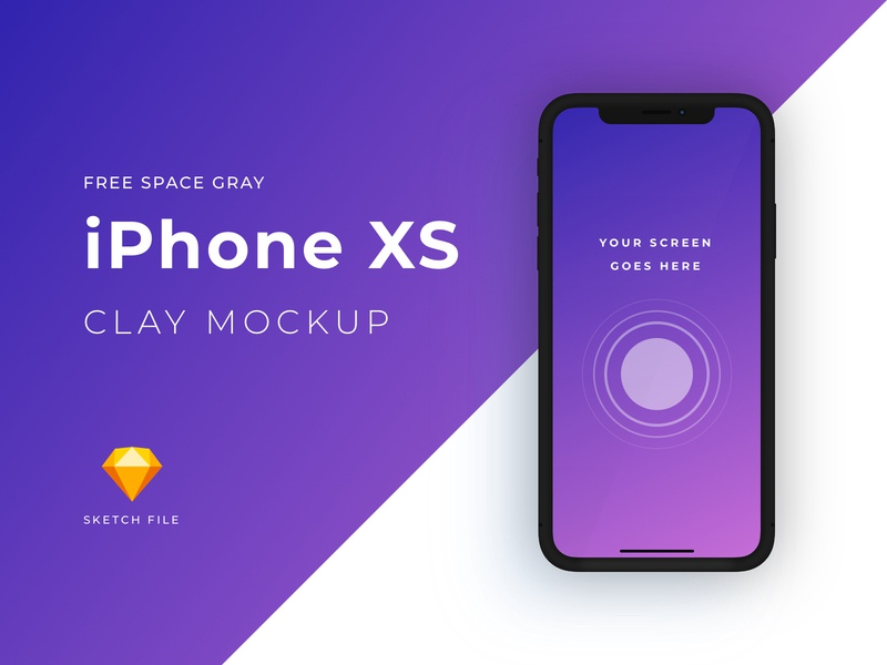 Free iPhone XS clay mockup [Space Gray] download mockup download sketch file iphone x iphone xs freebie freebies mockup clay free sketch