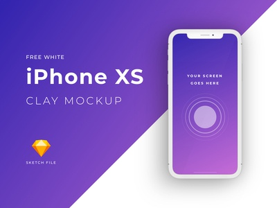 Free iPhone XS clay mockup [White]