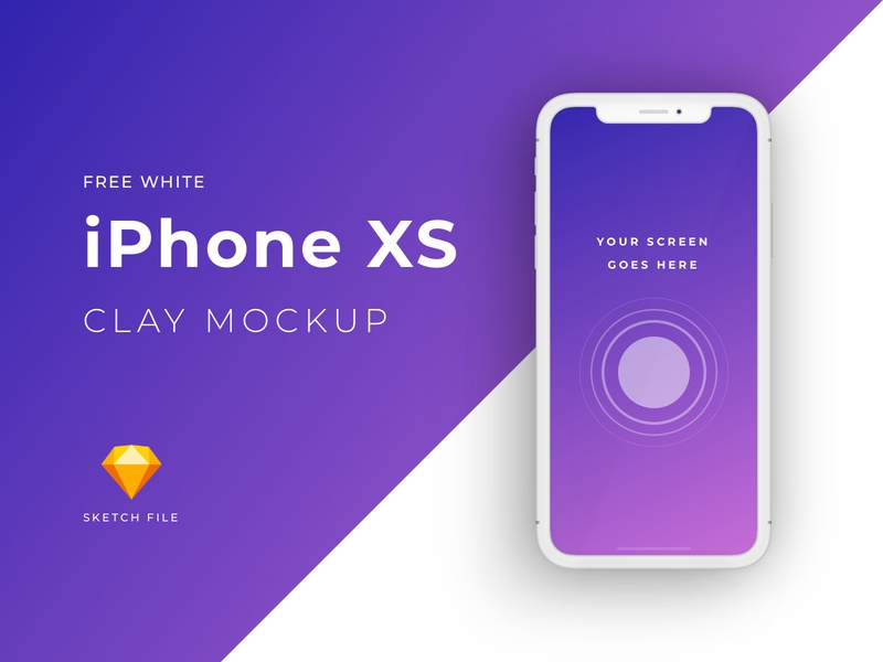 Free iPhone XS clay mockup [White] download mockup download sketch file iphone x iphone xs freebie freebies mockup clay free sketch