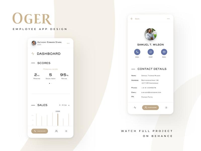 OGER | Employee app employee app dashboard store mobile app design retail ux ui sketch design branding behance project