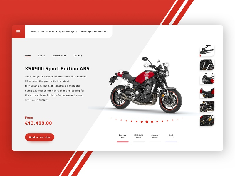 XSR900 Motorcycle | Product Page Concept motorcycle product page xsr900 motor desktop concept design branding ui sketch