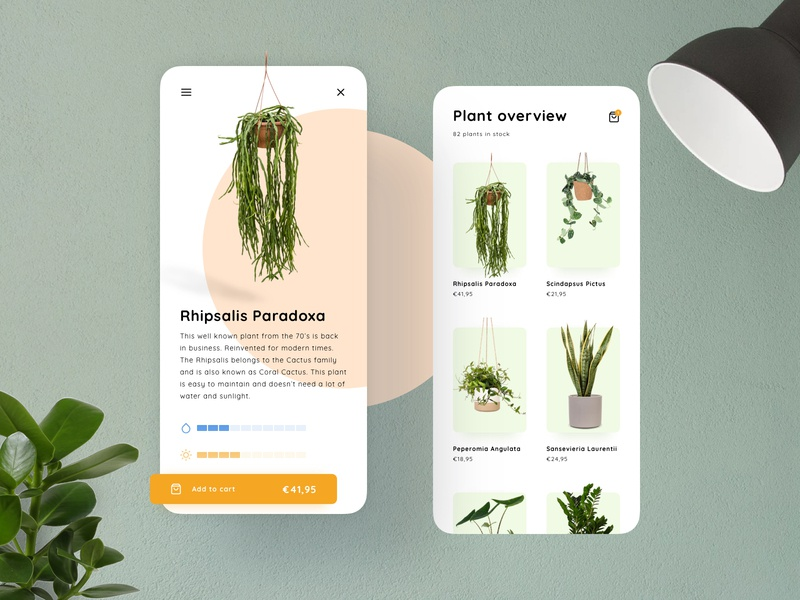 Plant Store Concept | Product page & overview store storefront product overview product page minimal depth pastel concept mobile branding design ui sketch