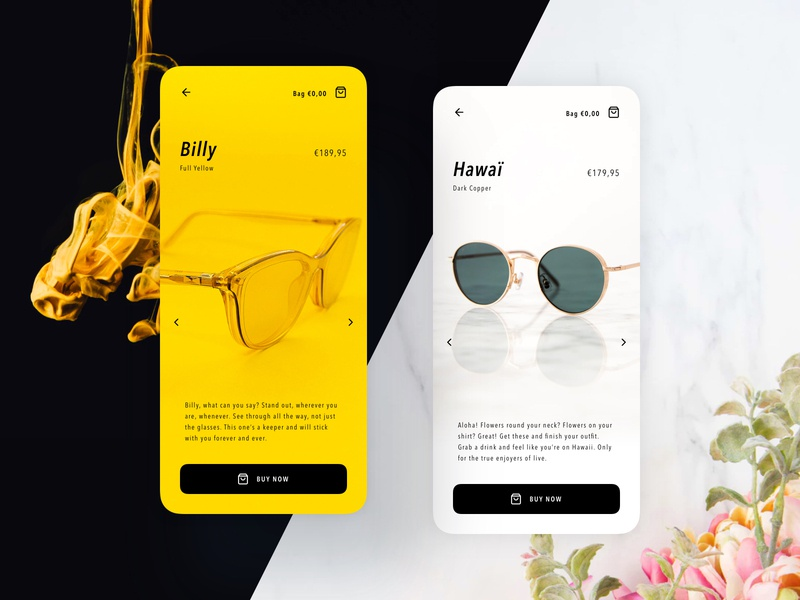 Eyewear product pages | Concept eyewear product page store luxury light dark yellow black and yellow marble contrast glasses glass mobile concept branding design ui sketch