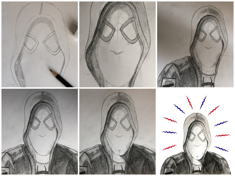 Pencil Drawing Process | Spider-Man: Into the Spider-Verse spider-man spidey spiderman sketching pencil art drawing art comic art comic process pencil drawing illustration design sketch