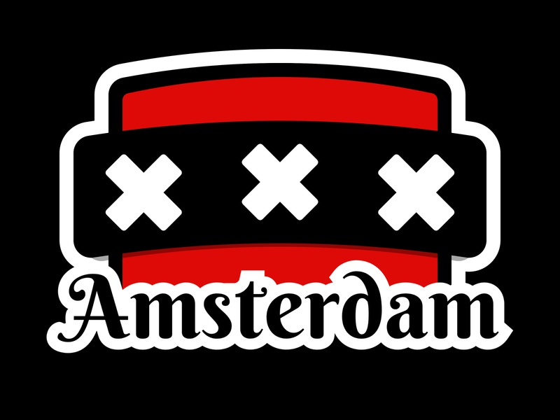 Amsterdam Sticker | Weekly Warm-Up No. 1 dribbbleweeklywarmup weekly warm-up try new things practice play learn grow experiment community netherlands 020 dribbble xxx sticker amsterdam weekly warm up weekly challenge typography design sketch