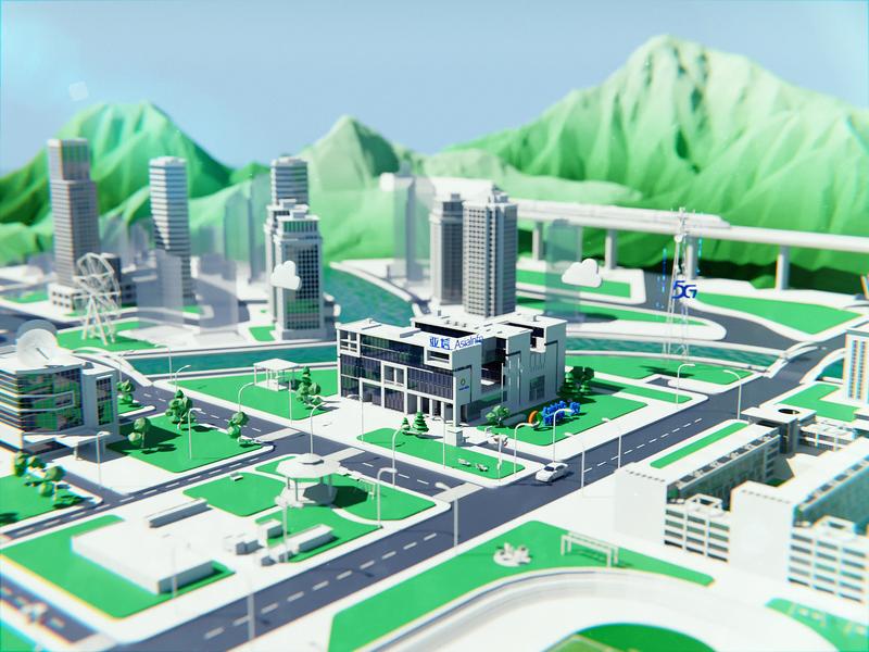 Asiainfo Virtual City  I  5G web app 5g blendercycles city product design blender3d visual design webgl design 3d
