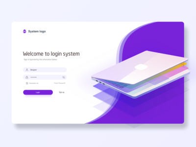 Welcome To Login System  2 page web,login,landing page,ui,sketch,ux,system