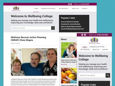 Wellbeing College Website visual design wellbeing health website