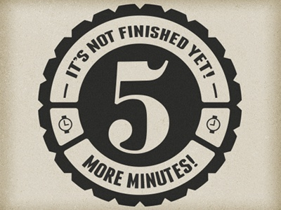 5 More Minutes! Logo 5 minutes logo time numbers cog