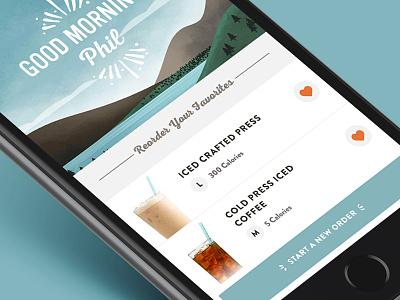 Coffee Ordering UX native favorites ordering ios app design coffee ui ux