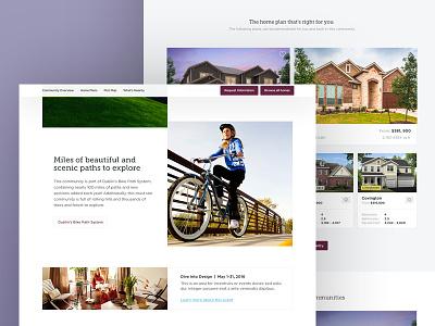 Custom Home Builder Redesign cards community homes appointment responsive design web website