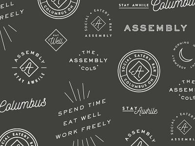 Assembly Badges bar eatery social ohio columbus branding logos badges workspace restaurant