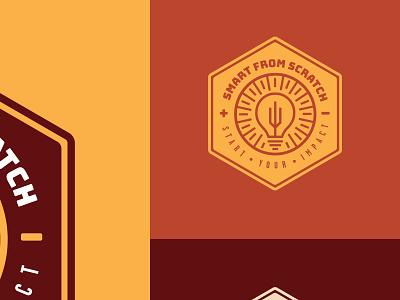 Smart From Scratch Badge design lightbulb identity logo course podcast branding badge