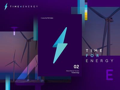 Time4Energy Style Tile power energy bolt design icon logo identity brand branding