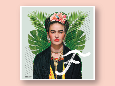 032/100: Frida Kahlo type design 100 days of dropcaps daily drop cap dropcap daily project pink art collage lettering 100 day project 100dayproject