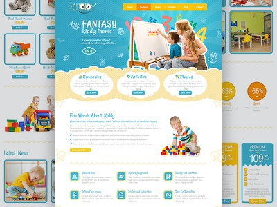 Kiddy Homepages Design user experience user interface ux ui wordpress homepage web design template web webdesign website web site