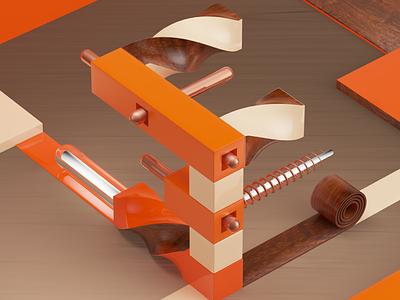 Extrude View orange art directions 3dtype type letter 3d design