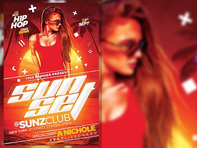 Summer Sunset Flyer Template summer party flyer red summer party summer flyer poster design template party nightclub music flyer event dj artist