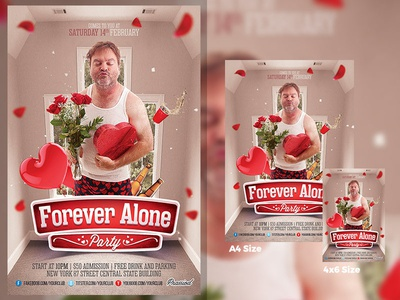 Forever Alone Party Flyer Template