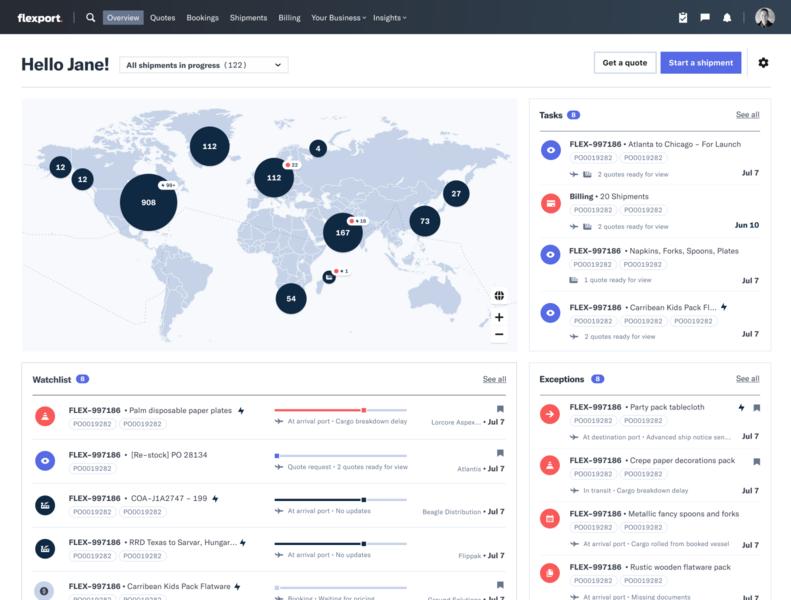 Flexport Dashboard 2.0 datavisualization supply chain logistics enterprise ux maps dataviz dashboard design dashboard ui dashboard